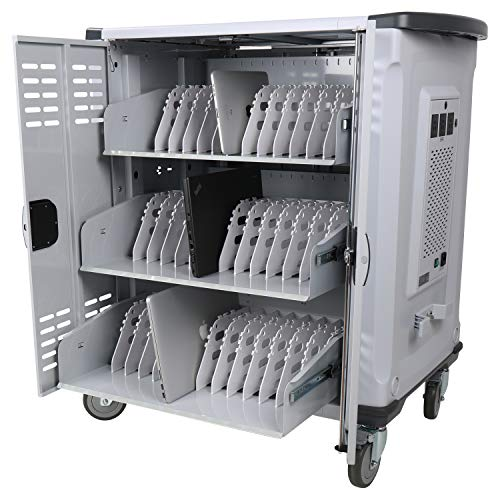 Pearington 42 Device Smart Charging Cart - Ships Fully Assembled - Store Up to 15.6 inch Screen Size - Compatible with Chromebook, iPad & Laptop Computers- Secure Locking Storage (Cart Storage Assembled Fully Laptop)