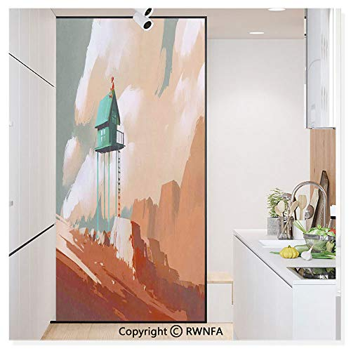- Window Glass Sticker Door Mural Little Wood House on Stone Hill with Boy on The Cloudy Roof Artprint Static Cling Privacy No Glue Film Home Decorative 11.8x59.8inch,Tan Green