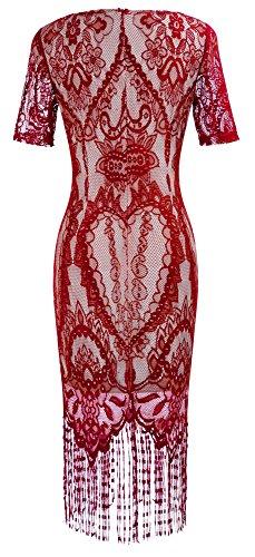 HOMEYEE Mujeres elegante encaje de manga de cuello en V de malla Slim Bodycon Tassel vestido formal de la vendimia B337 Rojo