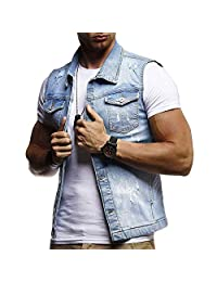 Sinzelimin Men&Women's Fit Retro Ripped Denim Vest Sleeveless Jean Vest and Jacket Button up Motocycle Jacket