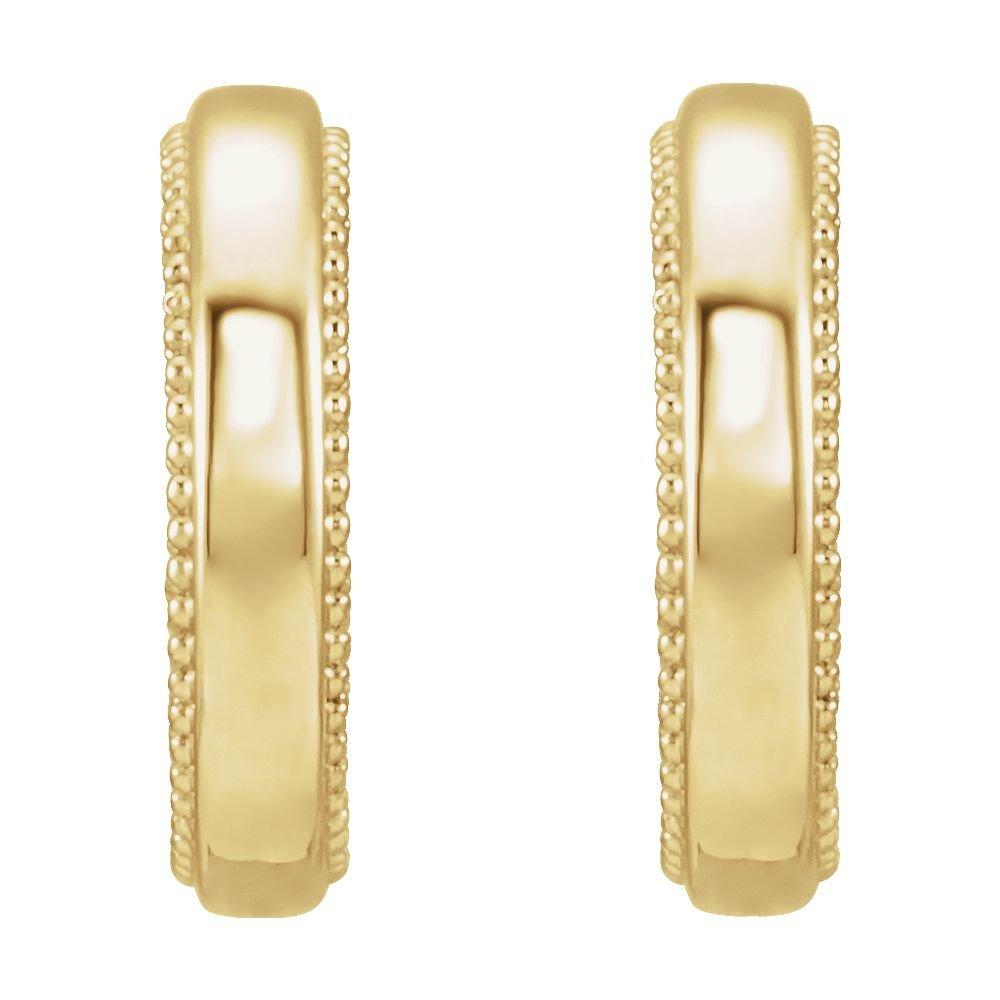 14K Yellow Floral-Inspired Milgrain Hoop Earrings