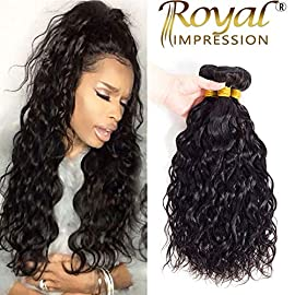 10A Brazilian Natural Wave Human Hair 3 Bundles (10″ 12″ 14″) Virgin Brazilian Water Wave Hair Bundles 100% Unprocessed Remy Ocean Wave Hair Bundles Natural Color