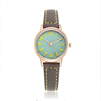 Relojes para niños, impermeables, relojes de cuarzo, relojes de pulsera de cuero para niñas, niños y niñas, color verde: Amazon.es: Relojes