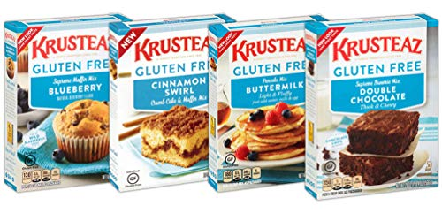 Krusteaz Gluten Free Baking Mix Variety Pack: Blueberry Muffin, Cinnamon Crumb Cake, Double Chocolate Brownie and Pancake Mix (Bundle of 4)