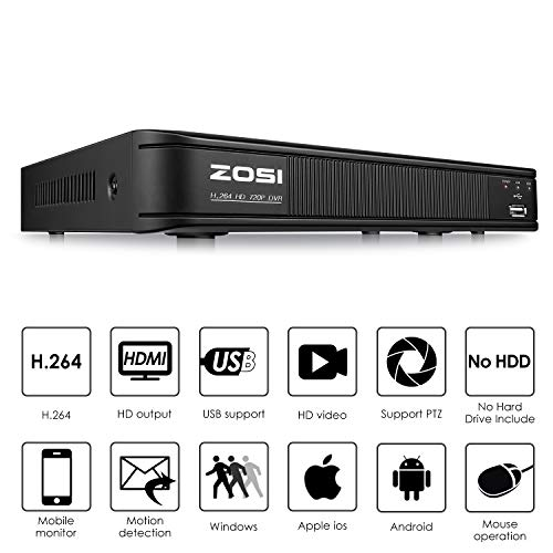 ZOSI Home Security Camera System Outdoor Indoor,1080p Lite CCTV DVR 8 Channel(No Hard Drive) and (4) 720P(1280TVL) Day Night Vision Weatherproof Surveillance Bullet Cameras