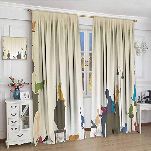 GUUVOR Modern Decor Wear-Resistant Color Curtain Colorful