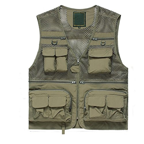 YANXH Men's Summer Mesh Vest Outdoor Photography Multi Pockets Fishing Gilet, Khaki, XXL