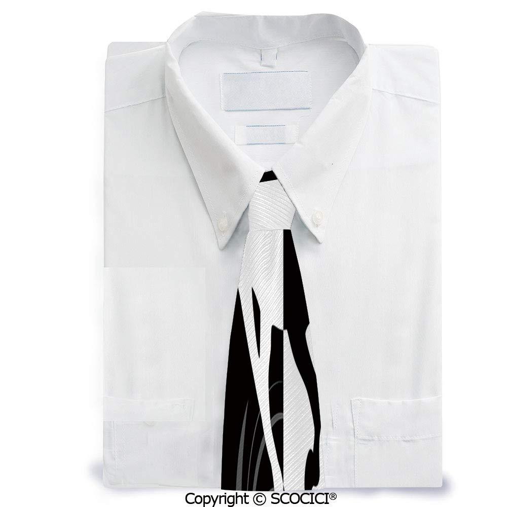 Corbata de poliéster monocromático con diseño de silueta de ...