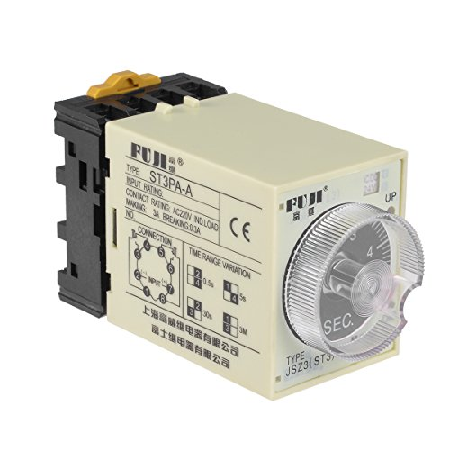 Terminals Range Adjustable Delay Timer Time Relay ST3PA-A with Base ()