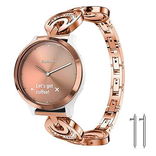 Lamshaw Quick Release Smartwatch Band for Garmin Vivomove HR, Crystal Rhinestone Diamond Jewelled Stainless Replacement Band for Garmin Vivomove HR (Rose Gold)