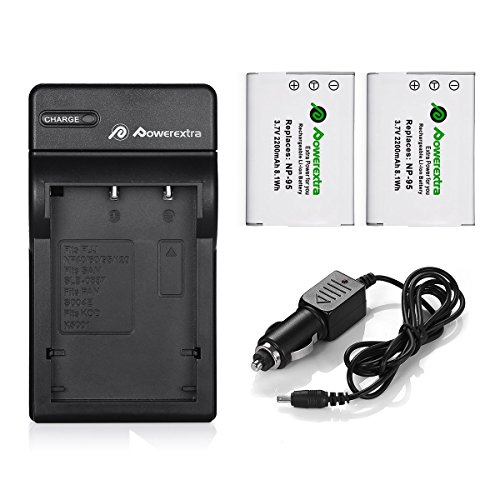 Powerextra 2 x NP-95 Battery and Charger with Car Charger Compatible with Fujifilm X100, X100T, X100S, FinePix REAL 3D W1, X-S1, F30,F31fd, X30, X70 and Ricoh DB-90 GXR GXR P10 Digital Camera Battery
