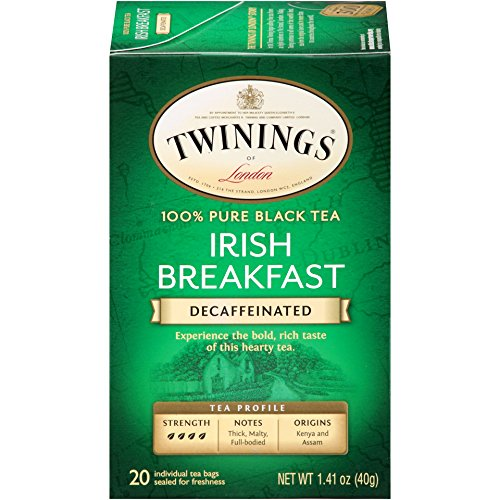 - Twinings of London Decaffeinated Irish Breakfast Tea, 20 Count (Pack of 6)