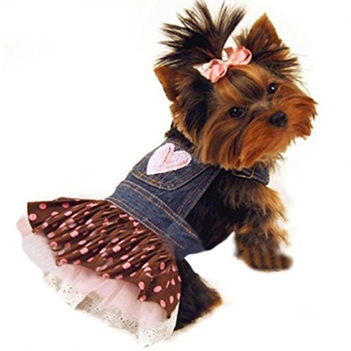 Pet Dog lovely Lace Heart Apparel Clothes Costume Jeans Dress Skirt
