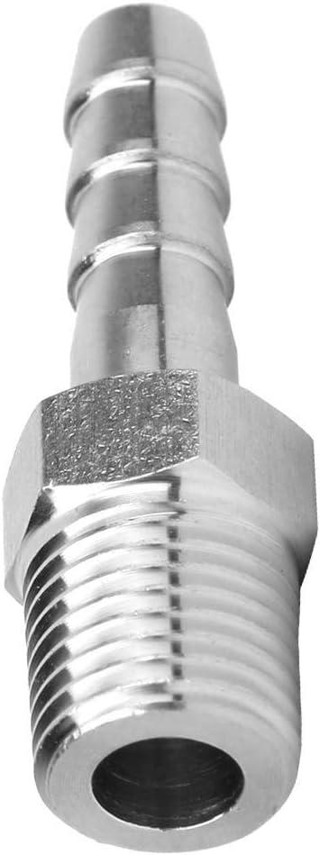 BSPT1//4-10mm Y conector de acoplamiento r/ápido Conexi/ón de tuber/ía para fontaner/ía de gas o aceite 2PCS Conector de rosca macho BSPT de acero inoxidable de 1//4 pulg