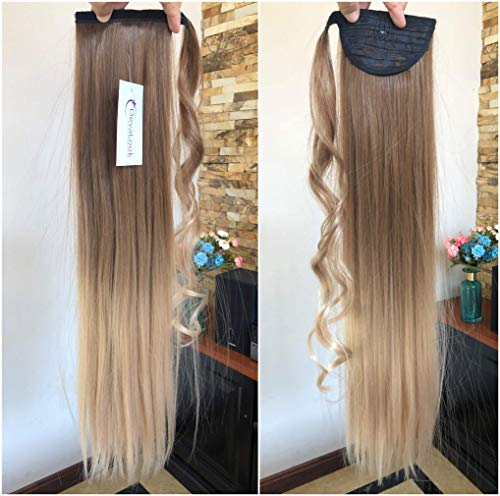 22 Long Straight Ombre Wrap Around Ponytail Clip in Hairpieces 95g (Straight-Light brown to sandy blonde)