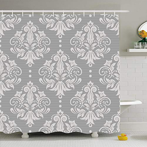 (Ahawoso Shower Curtain 60x72 Inches Vintage Gray Floral Damask Pattern Silver Victorian Modern Lace Baby Luxury Design Waterproof Polyester Fabric Bathroom Curtains Set with Hooks )