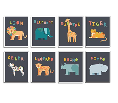 - Safari Animal Mini Prints- Nursery Wall Decor, Set of Eight 5x7 Prints, Educational Posters, Ocean Life Decor, Nursery Decor, Flash Cards, Wall Decal Baby, Childs Wall Decor, Reading Tool for Kids