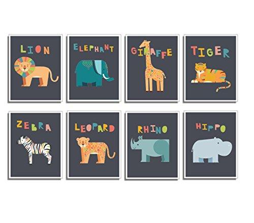 - Safari Animal Mini Prints- Nursery Wall Decor, Set of Eight 5x7 Prints, Educational Posters, Ocean Life Decor, Nursery Decor, Flash Cards, Wall Decal Baby, Childs Wall Decor, Reading Tool for Kids