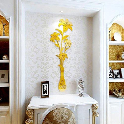 (TM) de lujo jarrón Ciruela patrón de flores 3d espejo sala de estar entrada recámara TV Pegatinas de pared matrimonio...