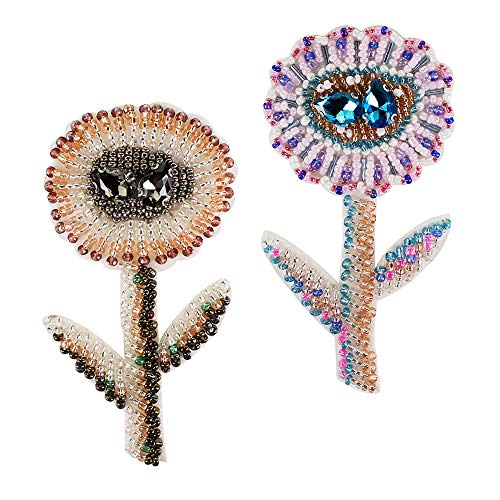 - Beaded Flower Patch for Sew on Applique for Brooches Decor Handmade Beading Craft 2 Pieces