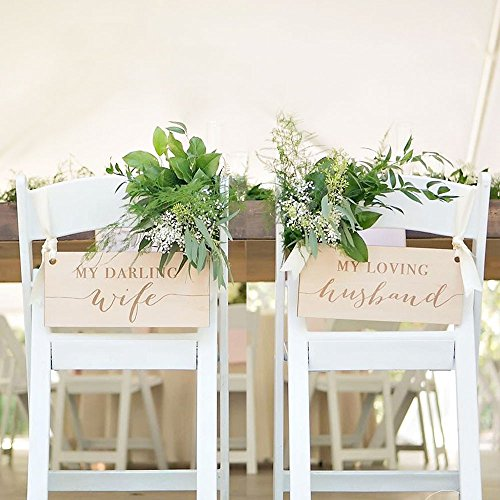 Wedding Chair Signs for Bride & Groom at Sweetheart Table, Wooden Rustic Signs Darling Wife Loving Husband Wood Chair Decor -