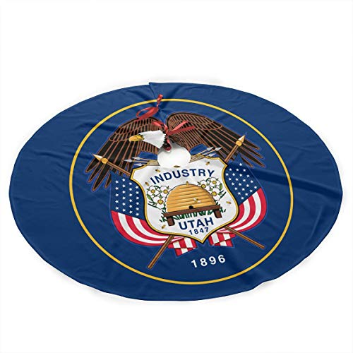(GUHurieir Fashion Utah State Flag Christmas Tree Skirt 35 Inches Rustic Xmas Holiday Ornaments Traditional Mat for Xmas Party)