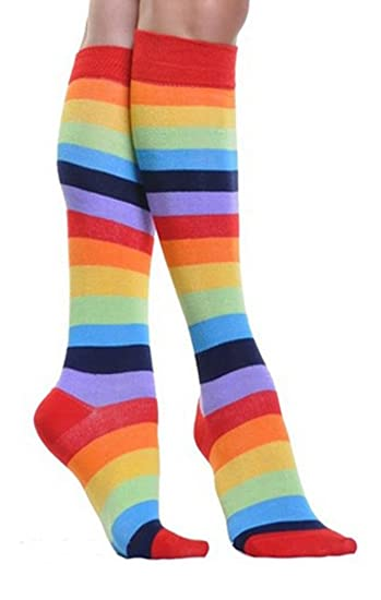 677704840 Image Unavailable. Image not available for. Color  Rainbow Knee High Socks  Multicolor Socks 2 Pairs ...