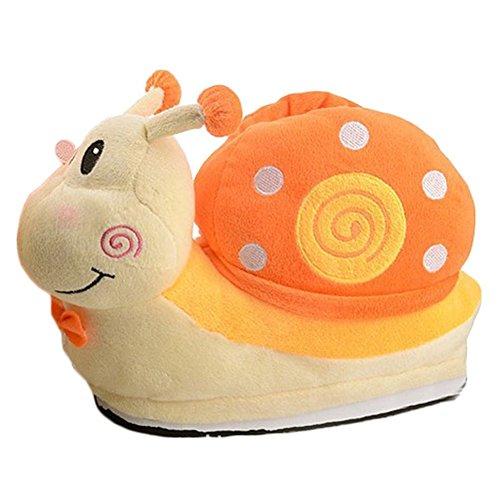 Hiver JLTPH Orange Confortable Chaussons Mules Pantoufles Adulte Peluche Escargot Enfants Chaud et qRwwE65