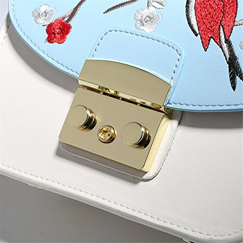 Cartera Bolso o Mujer con Crossbody Bandolera Simple Retro Azul del Bolso de Bordado Blanco para Bolso Monedero Cuadrado del Hombro qEZRxBgw6