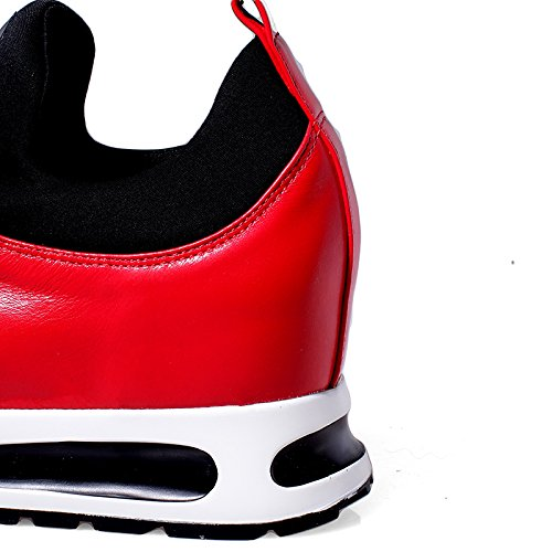 Zapatillas De Deporte Minivog De Altura Creciente En Piel Para Mujer Rojo