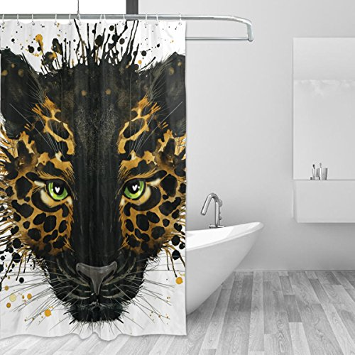 - LORVIES Watercolor Black Jaguar Shower Curtain Set Polyester Fabric Water Repellant Bathroom Shower Curtain Set Home Decoration with Hooks, 60W X 72L Inche