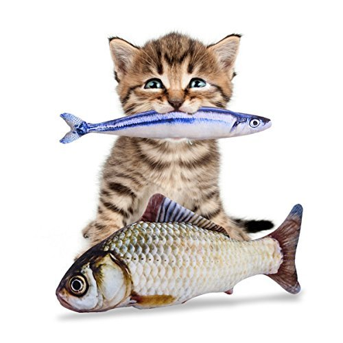 Catnip Fish Toys with Only North American Grown Catnip – 3 Refillable Catnip Toys for Cats – 11.5″ Fish Cat Toy with Catnip – Cat Toy Value Pack – Interactive Cat Toy for Kittens and Adults – Felines