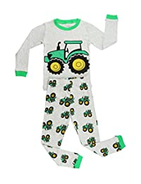 Elowel Boys Tractor 2 pc Kids Childrens Pajama Set 100% Cotton (2Y-8Y)