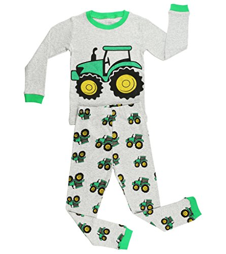 Elowel Boys Tractor 2 pc pajamas Set Size 2,Gray (Toddler Tractor)