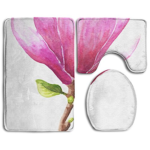 rcolor Illustration Of Magnolia Or Tulip Tree Pink Flower Isolated Over White Bathroom Rug 3 Piece Bath Mat Set Contour Rug And Lid Cover (White Magnolia Rug)