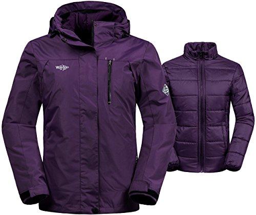 Wantdo Women's 3-In-1 Waterproof Ski Jacket Windproof Puff Liner Winter Coat Light Purple US Medium