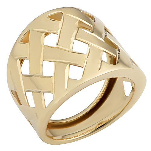 14k Gold Lattice - 14k Yellow Gold High Polish Lattice Ring (19mm wide, size 7)