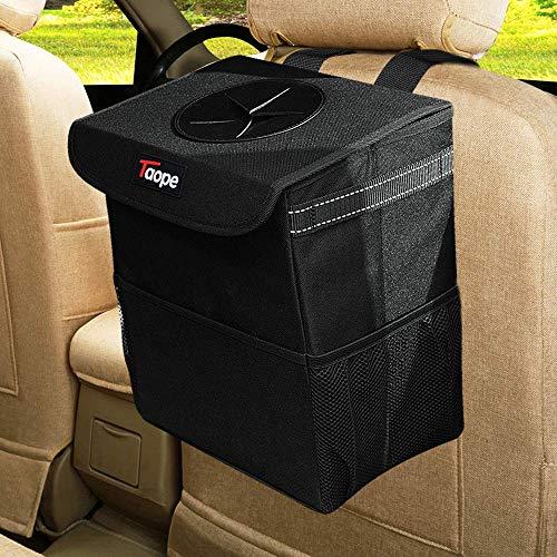 TAOPE Auto Mülleimer, 15 l, wasserdicht, faltbar, mit Deckel und Netztasche, auslaufsicher, für Auto, SUV, LKW, Minivan, Auto