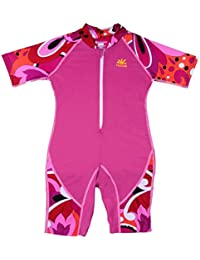 Nozone Girls Ultimate One-Piece Sun Protective UPF 50+ Swimsuit in Fuxia/Brandie, 4