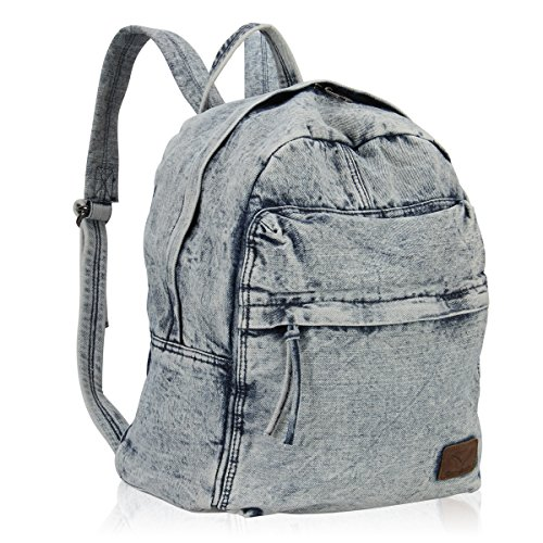 Hynes Eagle Cool Denim Jeans Backpack School Rucksack 20 Liter (Light Blue)