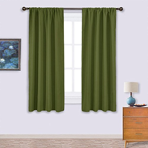 Nicetown Thermal Insulated Solid Rod Pocket Blackout Curtains / Drapes for Livingroom (One Pair,42 by 63-Inch,Olive Green) (1 Curtain Rod)