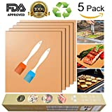 Copper Grill Mat and Bake Mat Set of 5 Non Stick BBQ Grill & Baking Mats - Reusable, Easy to Clean - PTFE Teflon Fiber Grill Roast Sheets for Gas, Charcoal, Electric Grill (Gold)