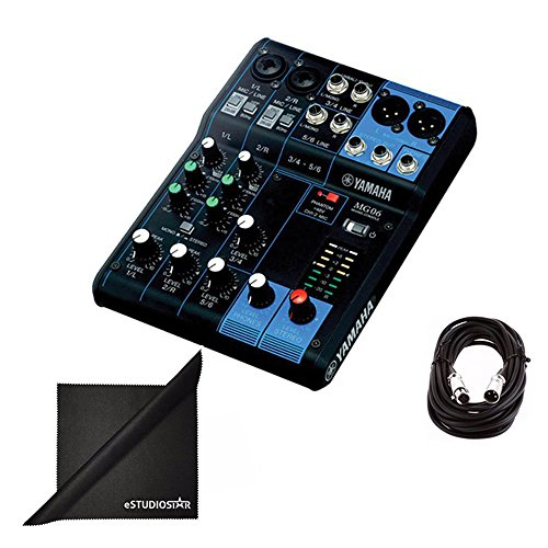 Yamaha MG06 6-Channel Mixing Console Bundle with XLR Cable, and Polishing Cloth (Mixing Consoles Yamaha)