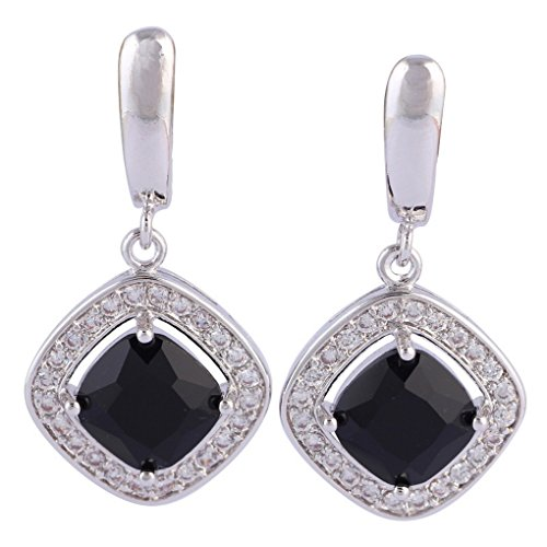 fonk: 925 Sterling Silver Overlay Black Sapphire earrings 11