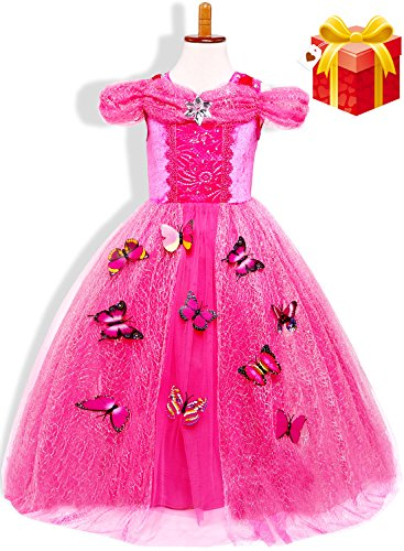 Girls New Princess Fancy Dress Up Costume Party Cosplay Outfit Butterfly Layered Skirt (Rose/Sleeveless, S/3-4T)