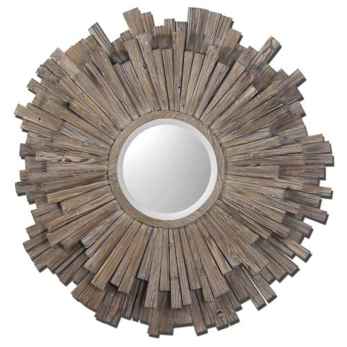 Trendy Wide Wood Frame Wall Mirror Light Walnut Stain Detail