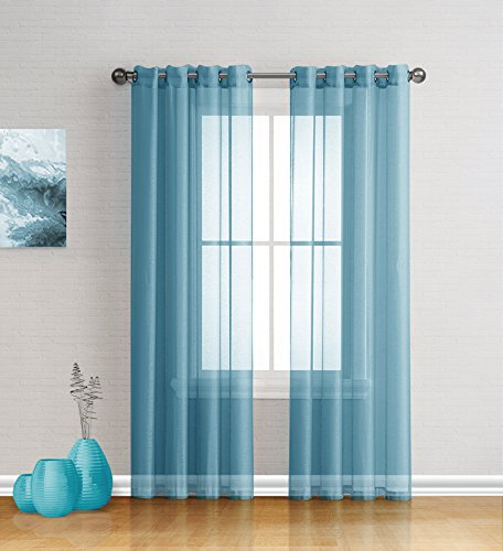 Best Sheer Grommet Window Curtains Panels for Bedroom, Living Room, Kitchen, Kid's Room and Outdoors Durable Polyester-2 Pieces (Teal, 54