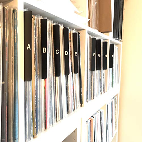 A to Z Black Vertical Vinyl Record Dividers w/Lettering on Both Sides 12