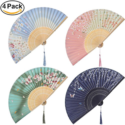 Japanese Wedding Flowers - BABEYOND 4pcs Japanese Style Floral Folding Hand Fan Vintage Handheld Silk Folding Fan with Different Patterns Folding Fan for Wedding Dancing Party (Japanese flower)