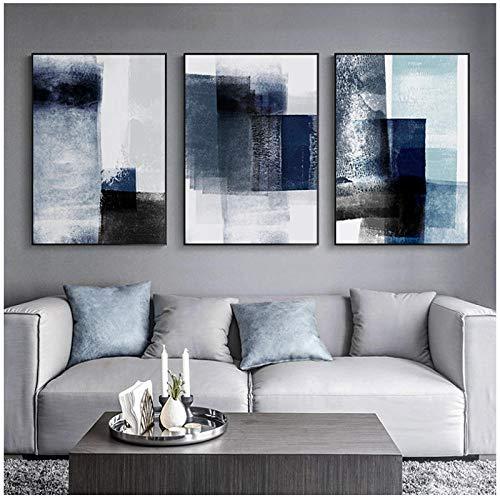 WQFairy Abstracto Moderno Lienzo Pintura Pared Arte Impresiones Minimalista Azul Graffiti decoracion poster Cuadros para Sala nordico decoracion (3 Piezas 50x70 cm sin Marco)
